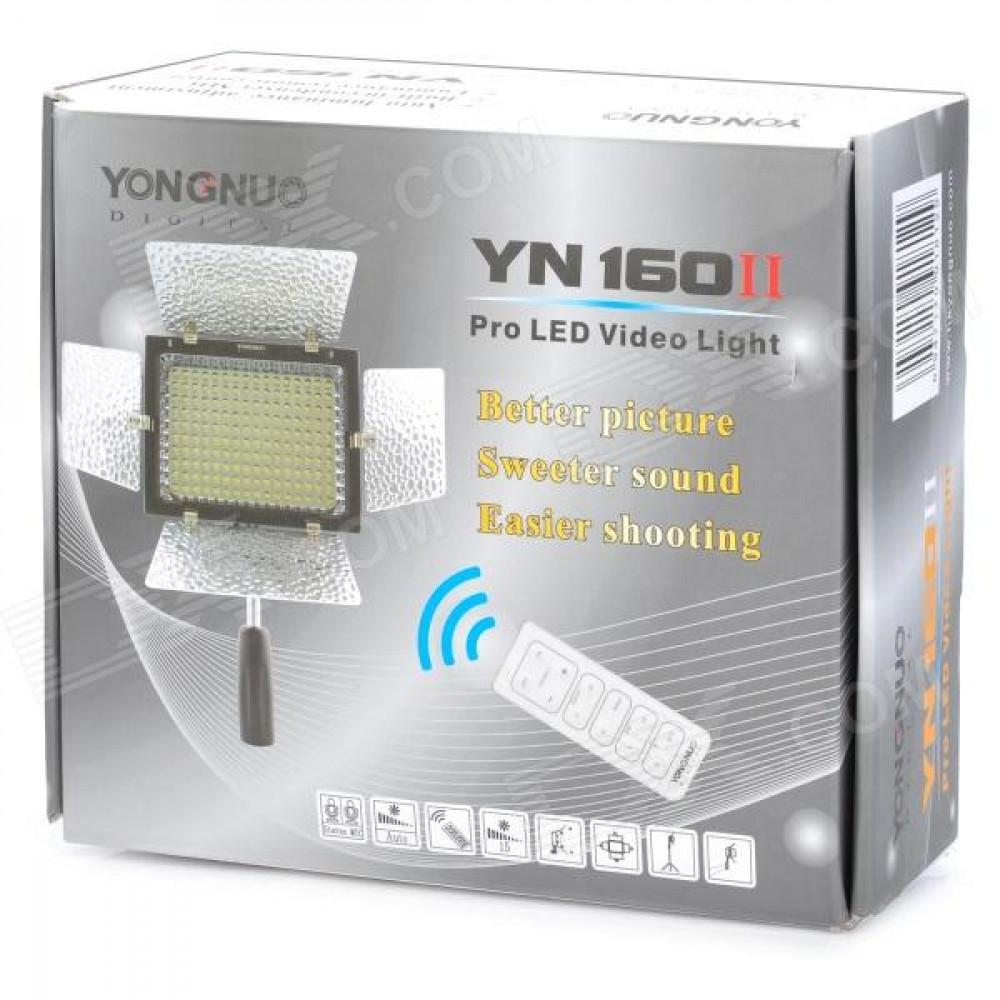 Накамерный свет YongNuo YN-160-II Hood Пулть управление и Встроенный конденсаторный микрофон (Подарок Sony FV50)