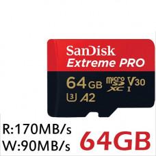 SanDisk Extreme Pro MicroSDXC UHS-I U3 A2 V30 64GB SDSQXCY-O64G-GN6MA
